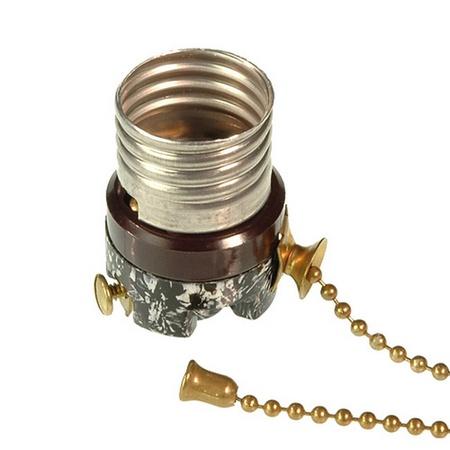 962 Lamp Socket Interior, Bakelite, Pull Chain Switch