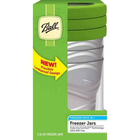 Ball 82100 Plastic 8-oz Freezer Jars, 3 Pack