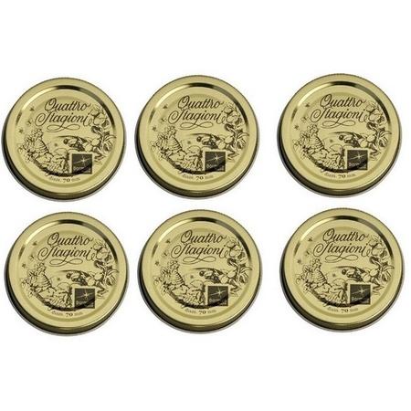 """Bormioli Rocco 2-3/4"""", 70mm Quattro Stagioni Lids, 6 Pieces"""