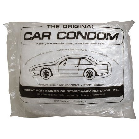 Car Condom 5 Pack Disposable Clear Plastic Car Cover with Elastic Band Medium Size 21.5' x 12.5'