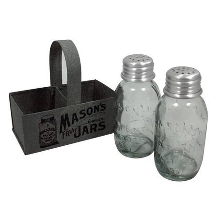 Colonial Tin Works 860385T Mason Jar Salt and Pepper Caddy