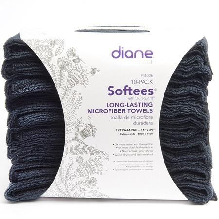 Diane 45006 Softees Black Microfiber Towels 10 Pack