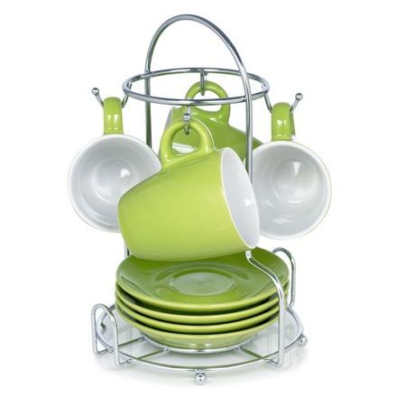 Imusa A120-22186 8-piece Espresso Set, Green/white