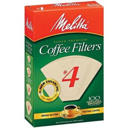 Melitta 624602 #4 Natural Brown Coffee Filters, 100 Count