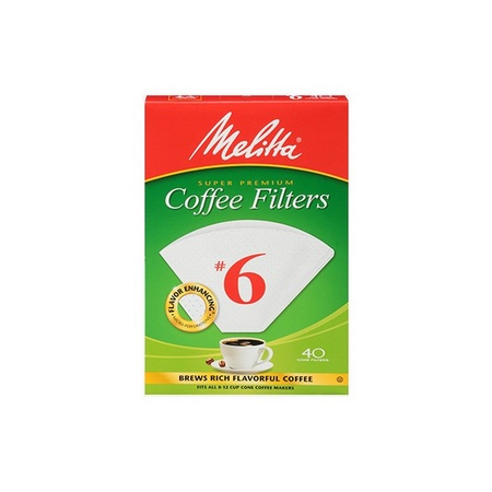 Melitta 626402 #6 White Coffee Filters, 40 Count