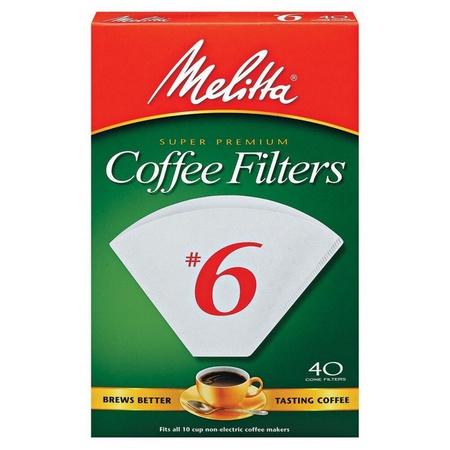 Melitta 626402 #6 White Coffee Filters, 480 Count, 12 x 40 Packs