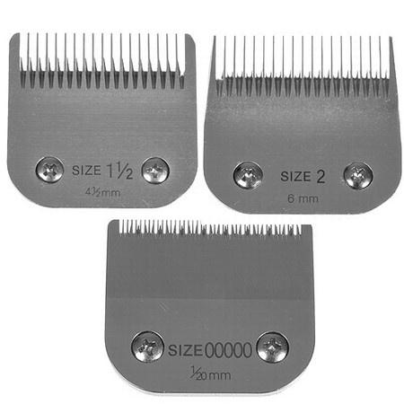 Miaco Size 00000, 1.5 & 2 Detachable Clipper Blades Set fits Oster Classic 76, Andis BGC, BGR, BGRC, MBG