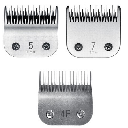 Miaco Size 4f, 5 & 7 Detachable Animal Clipper Blade Set fits Andis AG, AGC and Oster A5