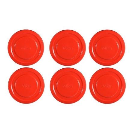 Mian Red Plastic Lids fits Luminarc Working Glass 6 Pack
