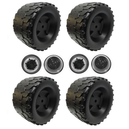 Power Wheels Four B7659-2459 Wheels and Four Push Nut Retainer Caps fits Jeep Wrangler