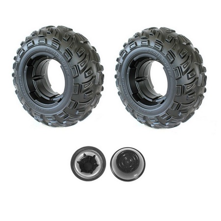Power Wheels Two J5248-2369  Front Wheels and Two Push Nut Retainer Caps fits Kawasaki Brute Force