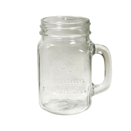 Sunshine Mason Co. Mason Jar Glass Mugs with Handles Pint Size (16 ounce, 473 mL) Regular Mouth 12 Pieces