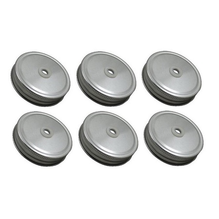 Sunshine Mason Co, Lids with Straw Hole  6 Pieces, Silver