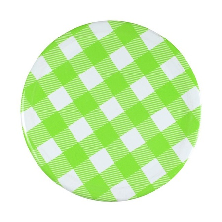 Sunshine Mason Co, One Piece Mason Jar Lids 6 Pieces, Green Gingham