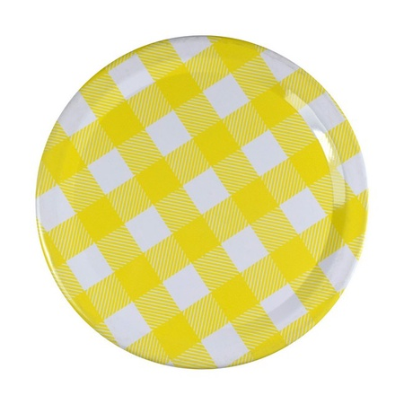 Sunshine Mason Co, One Piece Mason Jar Lids 6 Pieces, Yellow Gingham
