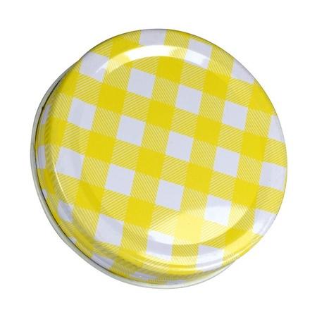 Sunshine Mason Co, One Piece Mason Jar Lids 6 Pieces, Yellow Gingham