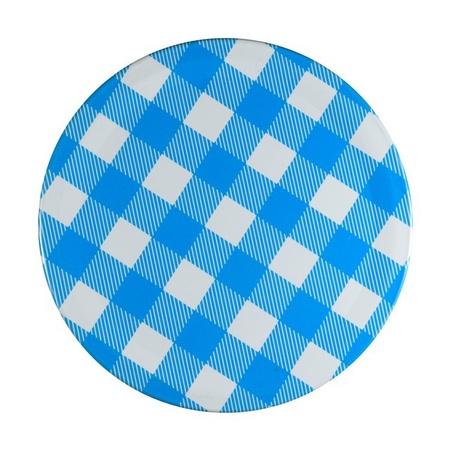 Sunshine Mason Co, One Piece Mason Jar Lids 6 Pieces, Blue Gingham
