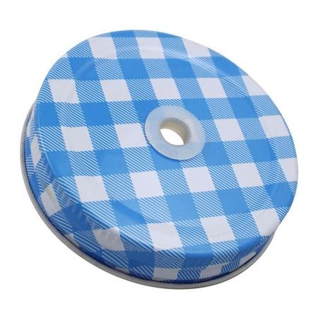 Sunshine Mason Co. Blue Gingham Mason Jar Lids with White Straws, 6 pieces