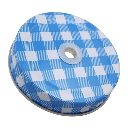 Sunshine Mason Co. Blue Gingham Mason Jar Lids with Clear Straws, 6 Pieces