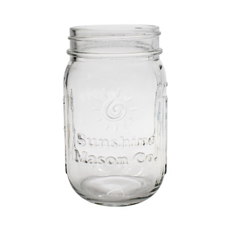 Sunshine Mason Co. Clear Mason Jar with Black Soap Dispenser Lid