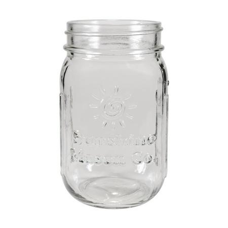 Sunshine Mason Co. Glass Mason Jar Set with Silver Lids and Green Stripe Straws, Set of 6