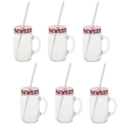 Sunshine Mason Co. Glass Mason Jar Drinking Mug set with handle, Red Gingham lids and White Straws, Set of 6