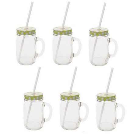 Sunshine Mason Co. Glass Mason Jar Drinking Mug set with handle, Yellow Gingham lids and White Straws, Set of 6