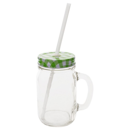 Sunshine Mason Co. Glass Mason Jar Drinking Mug set with handle, Green Gingham lids and White Straws, Set of 6