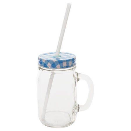 Sunshine Mason Co. Glass Mason Jar Drinking Mug set with handle, Blue Gingham lids and White Straws, Set of 6