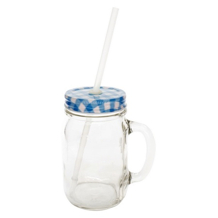 Sunshine Mason Co. Glass Mason Jar Drinking Mug set with handle, Blue Gingham lids and Clear Straws, Set of 6