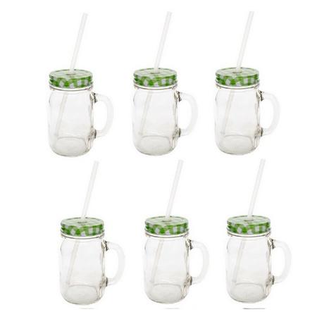 Sunshine Mason Co. Glass Mason Jar Drinking Mug set with handle, Green Gingham lids and Clear Straws, Set of 6