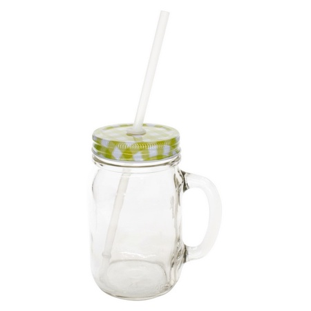 Sunshine Mason Co. Glass Mason Jar Drinking Mug set with handle, Yellow Gingham lids and Clear Straws, Set of 6