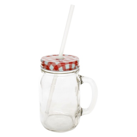Sunshine Mason Co. Glass Mason Jar Drinking Mug set with handle, Red Gingham lids and Clear Straws, Set of 6