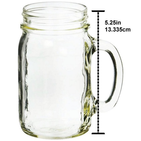Sunshine Mason Co. Glass Mason Jar Drinking Mug set with handle, Silver lids and Red Stripe Straws, Set of 6