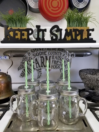 Sunshine Mason Co. Glass Mason Jar Drinking Mug set with handle, Silver lids and  Green Stripe Straws, Set of 6