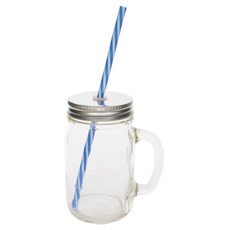 Sunshine Mason Co. Glass Mason Jar Drinking Mug set with handle, Silver lids and  Blue Stripe Straws, Set of 6