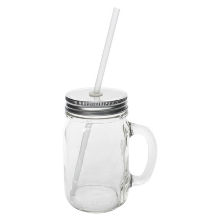 Sunshine Mason Co. Glass Mason Jar Drinking Mug set with handle, Silver lids and  Clear Straws, Set of 6