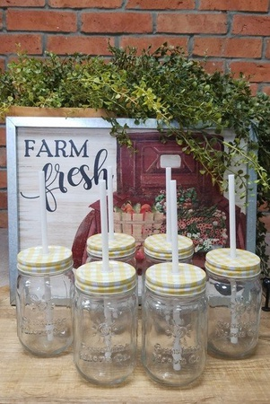 Sunshine Mason Co. Glass Mason Jar set with Yellow Gingham lids and White Straws, Set of 6