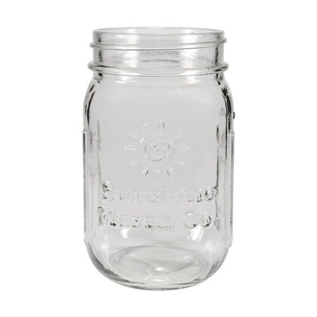 Sunshine Mason Co. Glass Mason Jar set with Blue Gingham lids and Clear Straws, Set of 6