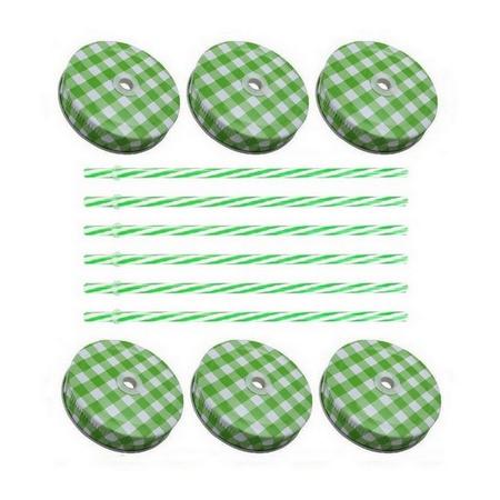 Sunshine Mason Co. Green Gingham Mason Jar Lids with Green stripe Straws, 6 Pieces