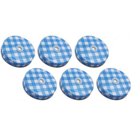 Sunshine Mason Co. Lids with Straw Hole 6 Pieces, Blue Gingham