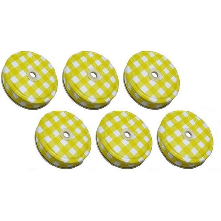 Sunshine Mason Co. Lids with Straw Hole 6 Pieces, Yellow Gingham