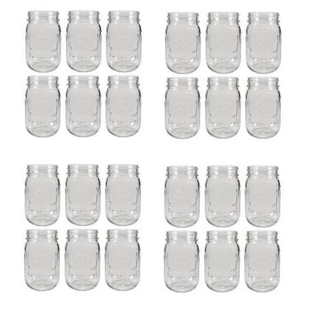 Sunshine Mason Co. Mason Jar Drinking Glass Pint Size (16 ounce, 473 mL) Regular Mouth 24 Pieces