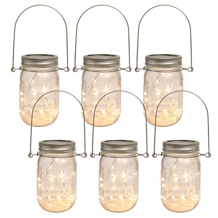 Sunshine Mason Co. Mason Jars with Solar Fairy Firefly String Lights and Hanger Handles Set of 6.