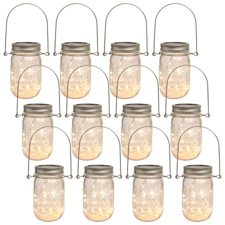 Sunshine Mason Co. Mason Jars with Solar Fairy Firefly String Lights and Hanger Handles Set of 12
