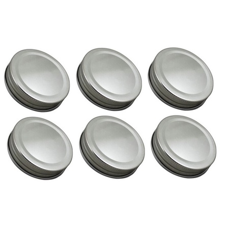 Sunshine Mason Co. One Piece Mason Jars Lids 6 Pieces, Silver