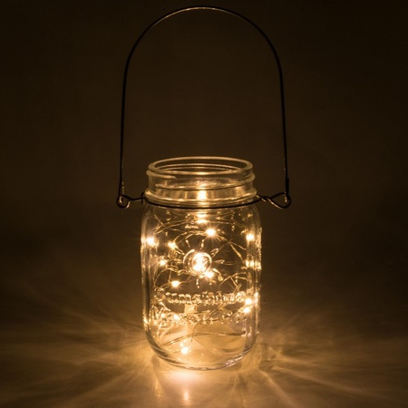 Sunshine Mason Co. Pint Glass Mason Jars with Hangers and LED Fairy Lights Set of 6