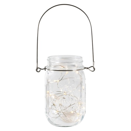 Sunshine Mason Co. Pint Glass Mason Jars with Hangers and LED Fairy Lights Set of 12