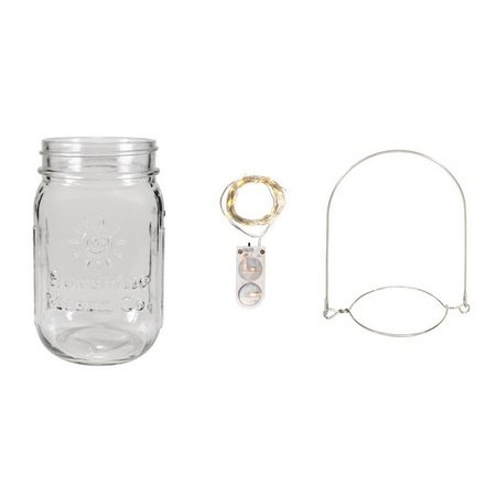 Sunshine Mason Co. Pint Glass Mason Jars with Hangers and LED Fairy Lights Set of 12