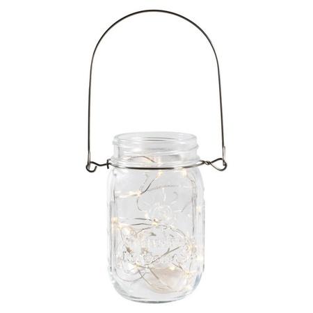 Sunshine Mason Co. Pint Glass Mason Jars with Hangers and LED Fairy Lights Set of 24